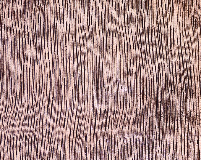 Leather 3-4-5 or 6 sq ft Rainy Day Metallic Stripes ROSE GOLD on BLACK Cowhide 3oz/1.2mm E1030-14