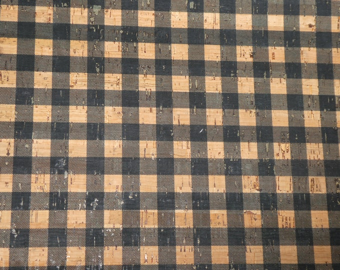 "Cork and Leather 12""x12"" BLACK & CORK Tartan PLAID Cork applied to Cowhide for body/strength Thick 5oz/2mm PeggySueAlso™ E5610-89 hides too"
