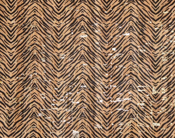 "Cork 12""x12"" MINI TIGER Stripe with GOLD Metallic flecks on Natural Cork applied to Leather Thick 5.5oz/2.2mm PeggySueAlso™ E5610-231"