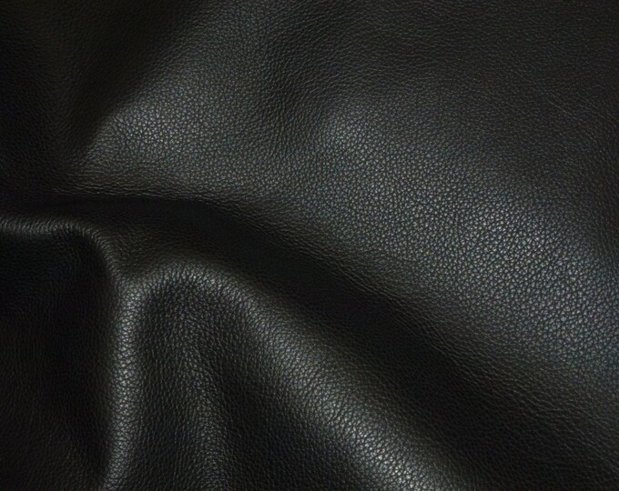 "Leather 12""x12"" Biker BLACK Top Grain Cowhide 3-3.5 oz / 1.2-1.4mm PeggySueAlso™ E2879-03 Hides available"