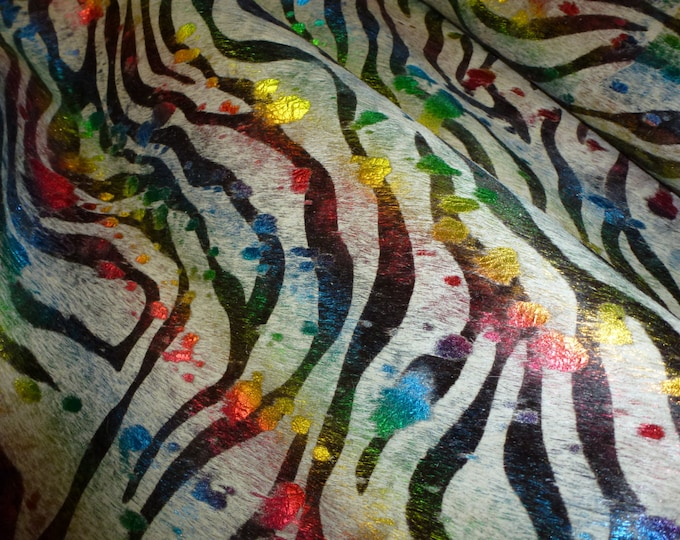 """Hair On Leather CLOSEOUT 12""""x12"""" BABY ZEBRA Acid Wash Rainbow Metallic on Off White Cowhide  4-4.5oz / 1.6-1.8 mm PeggySueAlso™ E2852-07"""