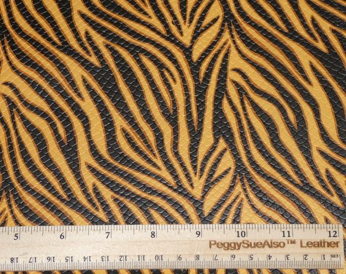 "NeW Leather 8""x10"" TEXTURED Golden ZEBRA TREE with Black Stripes Cowhide 2.5 oz / 1 mm PeggySueAlso™ E1565-01 Tiger"