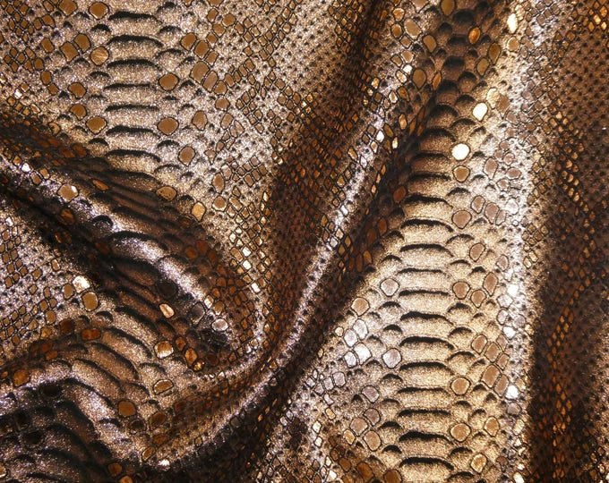 "Metallic Leather 12""x20"" 10""x24"" or? Mystic Python ROSE GOLD on BLACK Cowhide 3-3.25 oz/ 1.2-1.3 mm PeggySueAlso™ E2868-08 hides available"