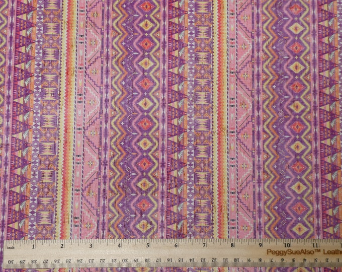 "Cork 5""x11"" DOVE Romance Pink / Purple NAVAJO AZTEC applied to Genuine Leather for body/strength Thick 5oz/2mm PeggySueAlso™ E5610-31"