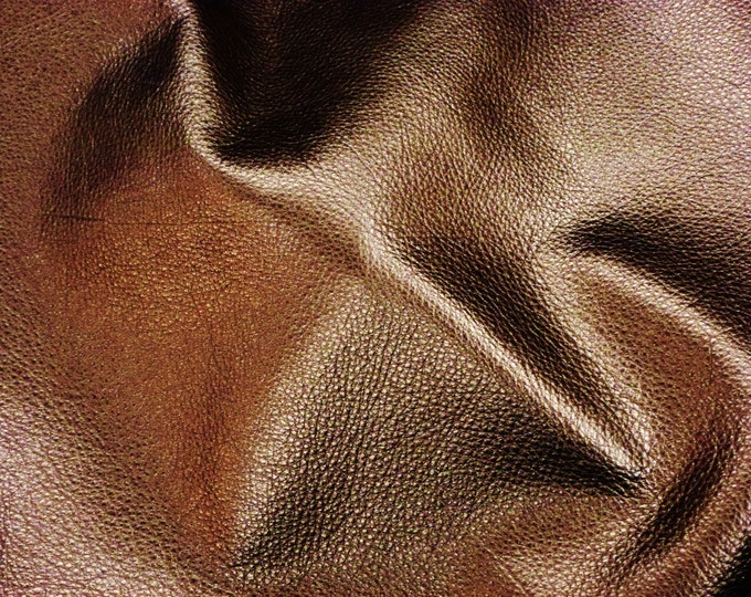 """Metallic Leather 5""""x11"""" Pebbled BRONZE  Soft Cowhide - shows the grain #100 3-3.25 oz / 1.2-1.3 mm PeggySueAlso™ E4100-08"""