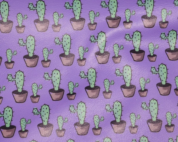 """Leather 12""""x12"""" Cactus garden on VIOLET PURPLE 2-2.5 oz / 0.8-1 mm PeggySueAlso™ E8401-01 Full Hides Available"""