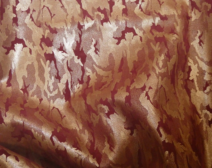 "Leather 8""x10"" Soft GOLD  Metallic CAMO on BURGUNDY Suede Cowhide 3-3.5 oz / 1.2-1.4 mm PeggySueAlso™ E2030-12 hides available"