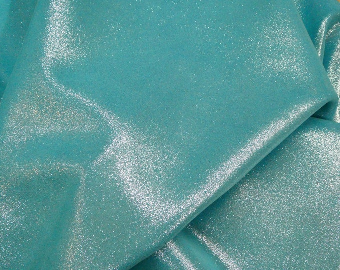 """Metallic Leather 8""""x10"""" Dazzle Silver on MINTY TURQUOISE Cowhide 2.5 oz / 1 mm PeggySueAlso™ E8300-05 hides available"""