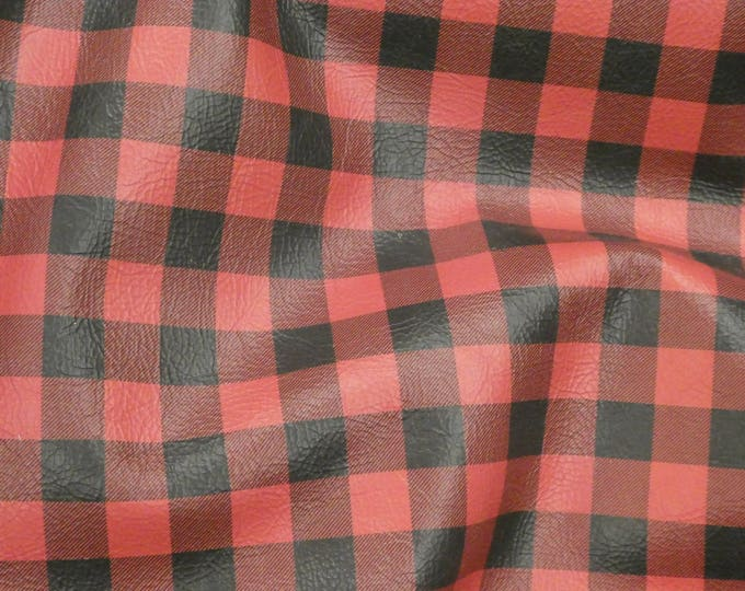 "Leather 12""x12"" Original Size Buffalo Plaid RED and BLACK Cowhide 3.25-3.5 oz/ 1.3-1.4 mm PeggySueAlso™ E1180-01 Hides available"