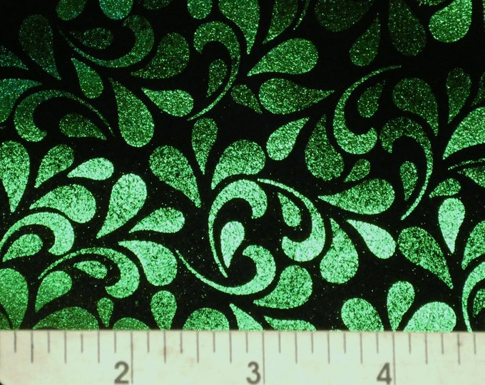"Metallic Leather 20""x20"" Emerald Green FLORAL TEAR DROPS on Black Soft Cowhide Leather 2.5-3 oz / 1-1.2 mm PeggySueAlso™ E7200-02 Trial"