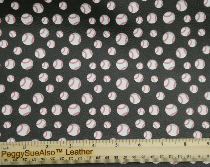 "Leather 3-4-5 or 6 sq ft BASEBALLS (5/8"" largest) on BLACK cowhide 2.5-3 oz / 1-1.2 mm PeggySueAlso™ E1221-02 Hides Available"