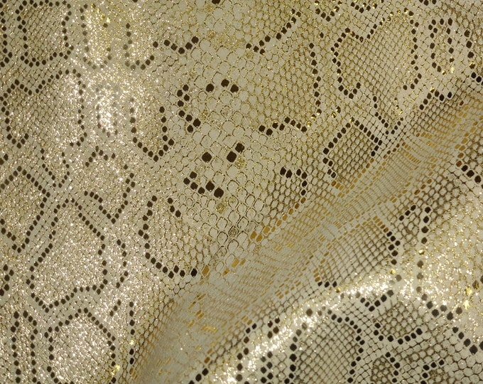 """RESTOCKED Metallic Leather 20""""x20"""" Elegant Mystic GOLD on BEIGE Cowhide 2-2.5 oz /.8-1mm PeggySueAlso™ E2869-02 Full hides available"""