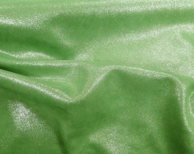 "Metallic Leather 12""x12"" Dazzle PEARL GREEN Silver Cowhide 2.5 oz / 1 mm PeggySueAlso™ E8300-15 hides available"