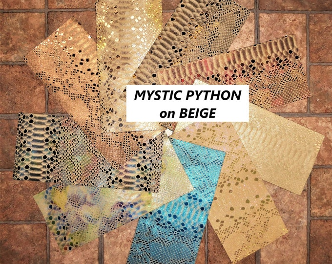 Metallic Leather 3 to 6 sq ft Mystic Python ON BEIGE thicknesses vary (see description) PeggySueAlso™ E2868