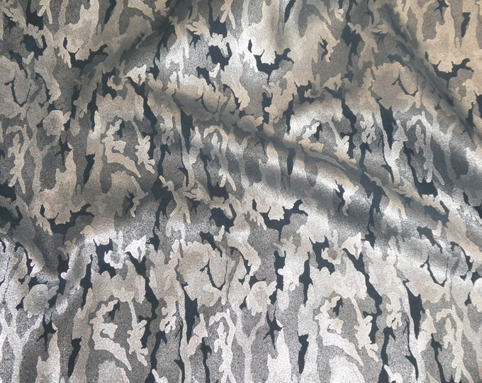 "Metallic Leather 12""x12"" Camo Soft SILVER on NAVY Blue Suede Cowhide 3-3.5 oz / 1.2-1.4 mm PeggySueAlso™ E2030-16 hides available"