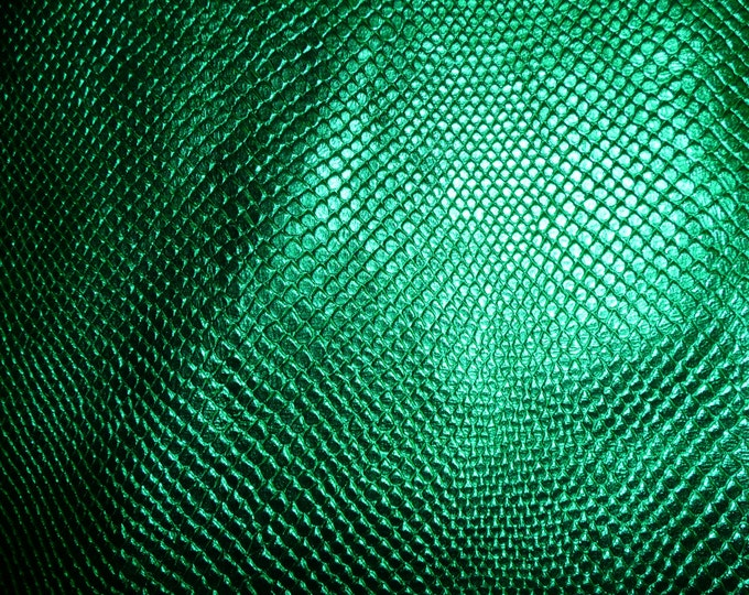 "Metallic Leather 5""x11"" Amazon Cobra EMERALD GREEN Metallic Cowhide 2.5 oz / 1mm #314 PeggySueAlso™ E2846-12 Limited"