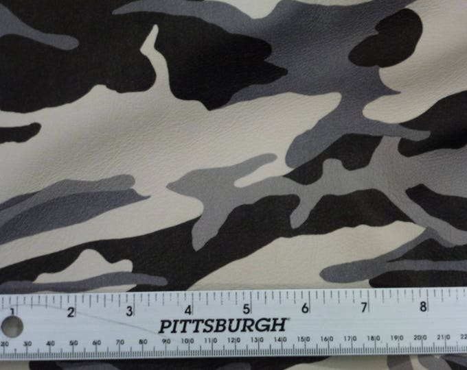 """Leather CLOSEOUT 5""""x11"""" CAMO Gray Black Off White Large PRINT Cowhide 3 oz / 1.2 mm #145 PeggySueAlso™ E2041-01"""