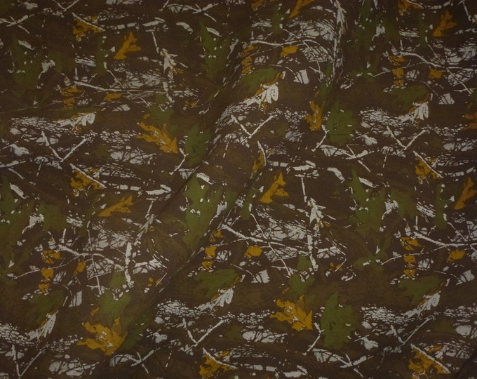 "Suede Leather 8""x10"" Camo Safari BROWN Woodland Camouflage Print Cowhide 3.75 oz / 1.5 mm PeggySueAlso™ E2020-01 hides available"