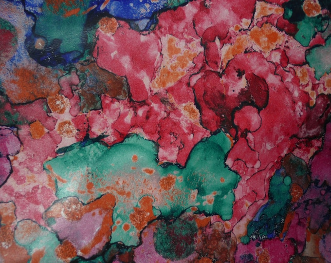 "Leather 8""x10"" Abstract LAVA Pink Turquoise Navy Orange Print  COWHIDE  2.5 oz /1 mm  PeggySueAlso™ E2176-07A"