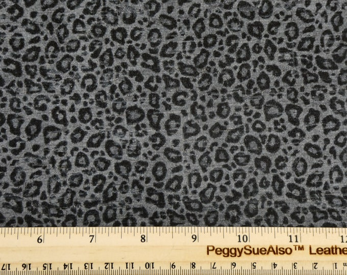 "Cork Version 8""x10"" BLACK on GRAY LEOPARD CoRK applied to real leather  Thick 5.5oz/2.2mm PeggySueAlso E5610-218"