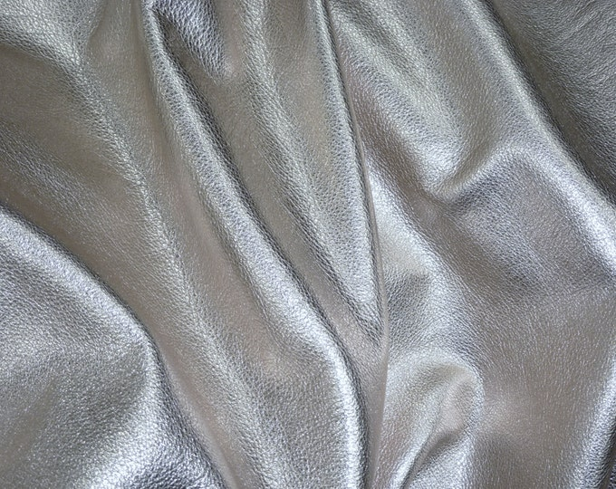 "SILVER Metallic 20""x20"" SOFT pebbled cowhide - shows the grain - Leather 3-3.25 oz / 1.2-1.3 mm PeggySueAlso™ E4100-03 Full hides available"