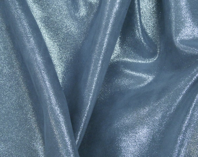 """Metallic Leather 12""""x12"""" Dazzle Silver on DENIM BLUE Cowhide 2.5 oz / 1 mm PeggySueAlso™ E8300-10"""
