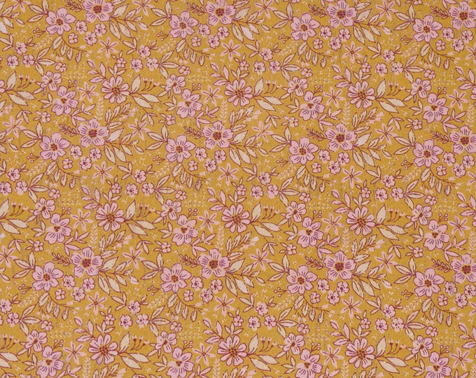 """CoRK 5""""x11"""" GOLDEN FLORAL PASTURE With Baby Pink and White applied to cowhide Thick 5.5oz/2.2mm PeggySueAlso™ E5610-319"""