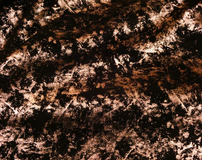 """Metallic Leather 8""""x10"""" Northern Lights Metallic ROSE GOLD on BLACK Suede Cowhide 3.5 oz / 1.4 mm PeggySueAlso™ E6525-05 Hides Available"""