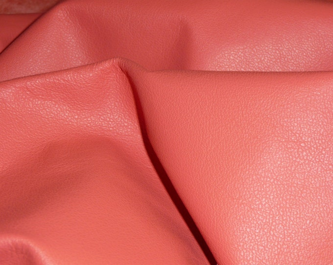 "Leather 12""x12"" Plonge SALMON Garment / Purse Full grain Thin Cowhide 1.75oz/.7 mm PeggySueAlso™ E2843-05 hides available"