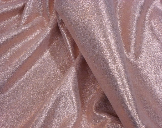 """Metallic Leather 12""""x20"""" ...Vintage Crackle ROSE GOLD on Pastel Light PINK Cowhide 3.25 oz/1.3 mm PeggySueAlso™ E2844-21"""
