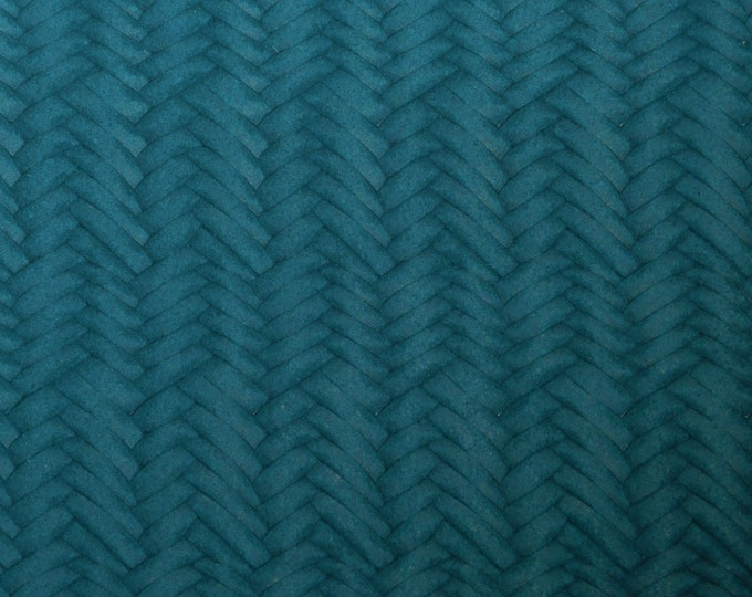 "Leather 8""x10"" Braided Fishtail DARK TEAL Cowhide soft USA 3.25-3.5 oz / 1.3-1.4 mm PeggySueAlso™ E3160-55"