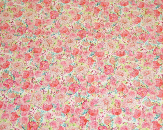 """ReSTOCKED 12""""x12"""" Pink flowers on WHITE applied to CoRK on Cowhide Leather for body/strength Thick 5oz/2mm PeggySueAlso™ E5610-44 Hides too"""