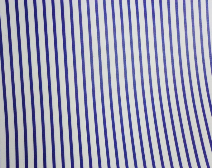 "Leather 12""x20"" or 10""x24"" PTR Royal Blue stripes on White Medium firm - not real soft Cowhide 2.5-3oz/1-1.2mm PeggySueAlso™ E3097-03"