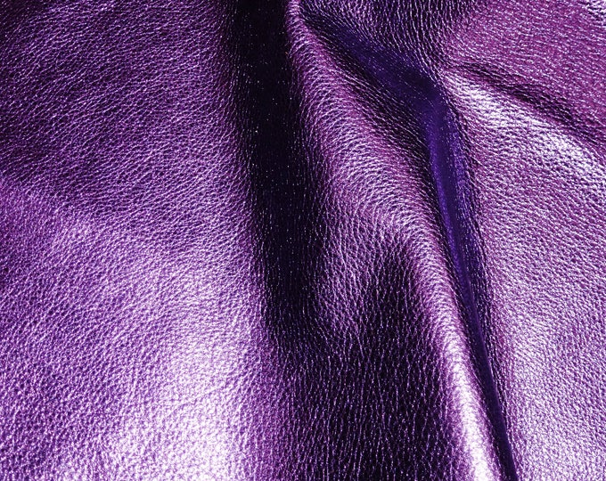 "8""x10"" PURPLE Pebbled Metallic - shows the grain - cowhide Leather 2.5-3 oz / 1-1.2 mm PeggySueAlso™ E4100-17 Full hides available"