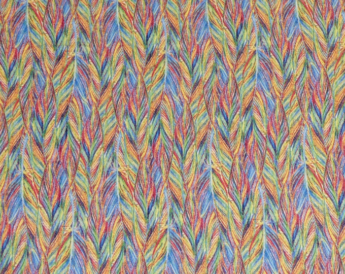 """Cork 8""""X10"""" RAINBOW BIRD FEATHERS CoRK applied to real leather Thick 5.5oz/2.2mm PeggySueAlso E5610-294"""