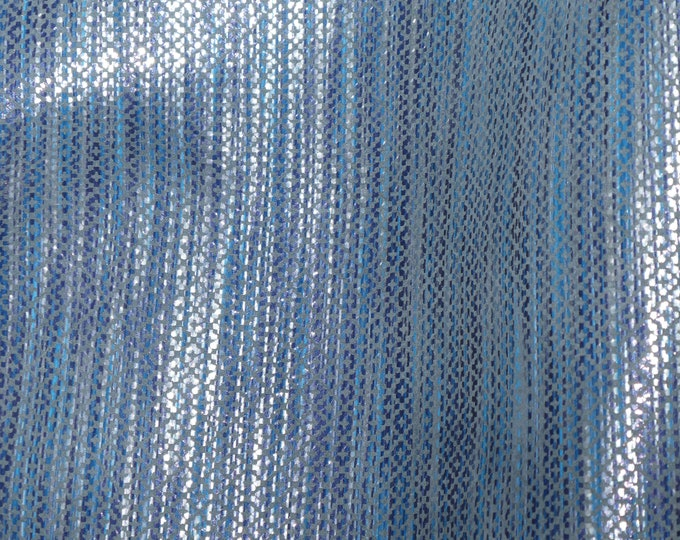 ReStocked Leather 3-4-5 or 6 sq ft DENIM and SILVER GLISTENING Stripes Cowhide 2.5-2.75 oz / 1-1.1 mm PeggySueAlso™ E1097-01