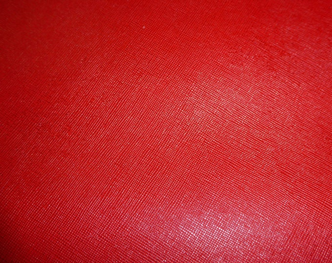 "Leather 12""x12"" Saffiano RED (not metallic) Weave Embossed Cowhide 3.25-3.75 oz/ 1.1-1.3 mm PeggySueAlso™ E8201-02 Hides available"