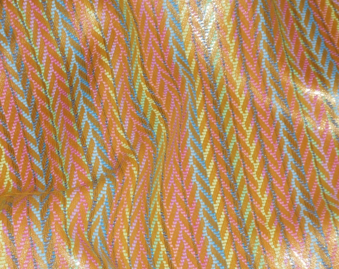 "NeW Leather 12""x12"" Rainbow Chevron GOLDEN Cowhide 2.5-3 oz / 1-1.2 mm PeggySueAlso™ E1601-08 Hides available"