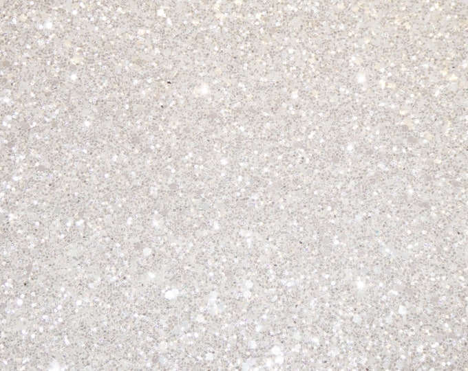 "ReSTOCKED 8""x10"" PEARLY WHITE Glitter Metallic Fabric applied to WHITE Leather 4 firmness Very Thick 5-5.75 oz/2-2.3mm E4355-16"