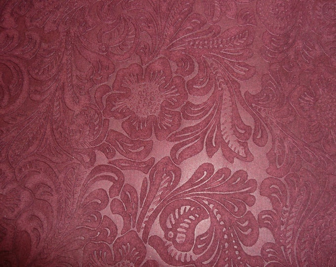 """Suede Leather 12""""x12"""" Etched Daisy MAROON Floral Pressed Embossed Cowhide 3.5 oz / 1.4 mm PeggySueAlso™ E2875-03"""