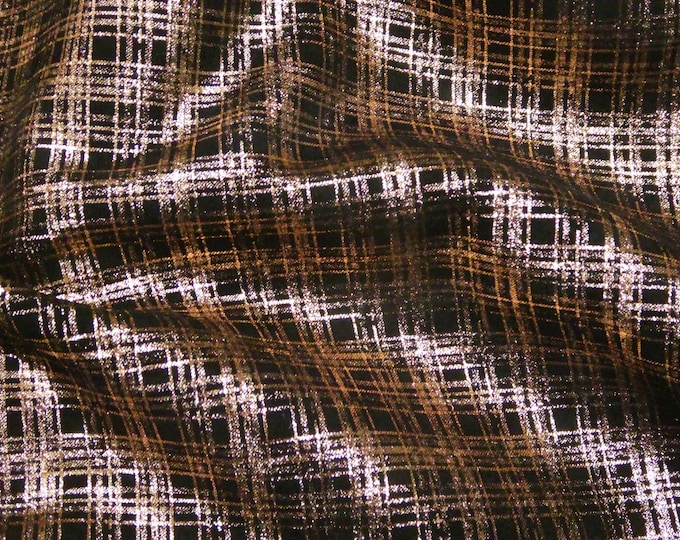 """Metallic Leather 5""""x11"""" PLAID - ROSE Gold on Black Suede Cowhide 3.5 oz / 1.4 mm PeggySueAlso™ E6529-06"""