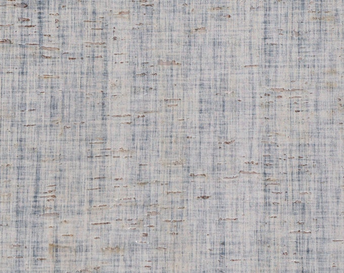 """Cork 8""""x10"""" Blue Gray Woven Linen Printed CORK applied to LEATHER for body/strength Thick 5oz/2mm #802 E5610-138 CLOSEOUT"""
