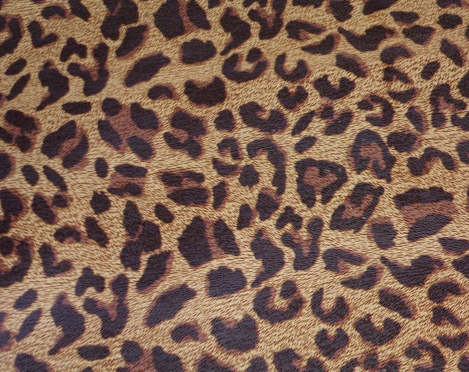 Leather 3 or 4 or 5 sq ft BURNT UMBER Large Cheetah / Leopard Print Grain Not Hair On Cowhide 2.5-2.75oz /1-1.1 mm E5000-03