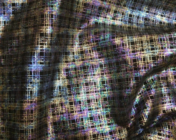 Leather 3 or 4 or 5 or 6 sq ft METALLIC PLAID - SPECTRUM on Black Cowhide 3.5 oz / 1.4 mm PeggySueAlso™ E6529-01