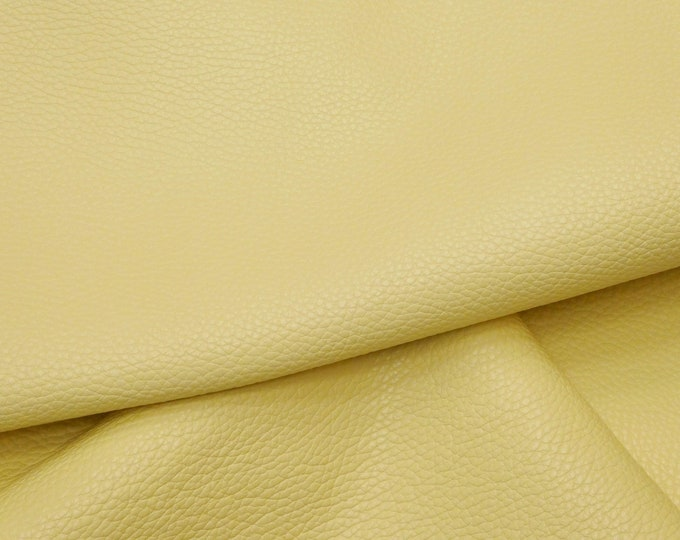 "Leather 12""x24"" Imperial PALE YELLOW Fully Finished Pebble Grain Thick Italian Cowhide 4-4.25oz/1.6-1.7 mm PeggySueAlso™ E3205-03"