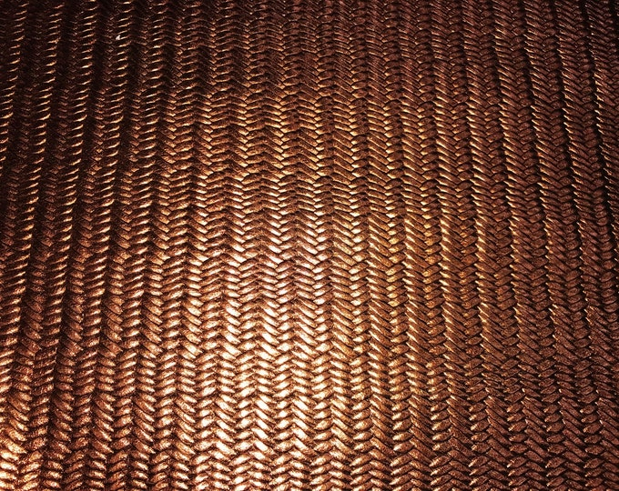 "Metallic Leather 5""x11"" Braided Fishtail BRONZE Metallic Cowhide 2-2.5oz/0.8-1 mm PeggySueAlso™ E3160-64 hides Available"