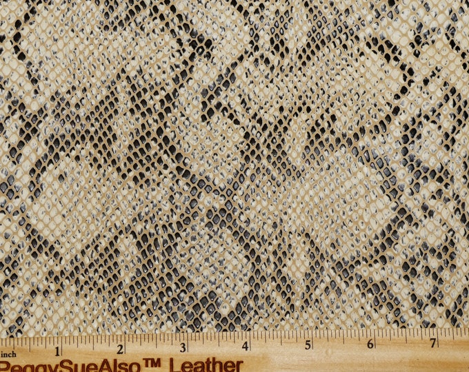 "New Leather 12""x12"" BLACK and BONE /Beige TEXTURED Snake Cowhide 4-4.5oz /1.6-1.8 mm PeggySueAlso™ E1505-01 hides available"
