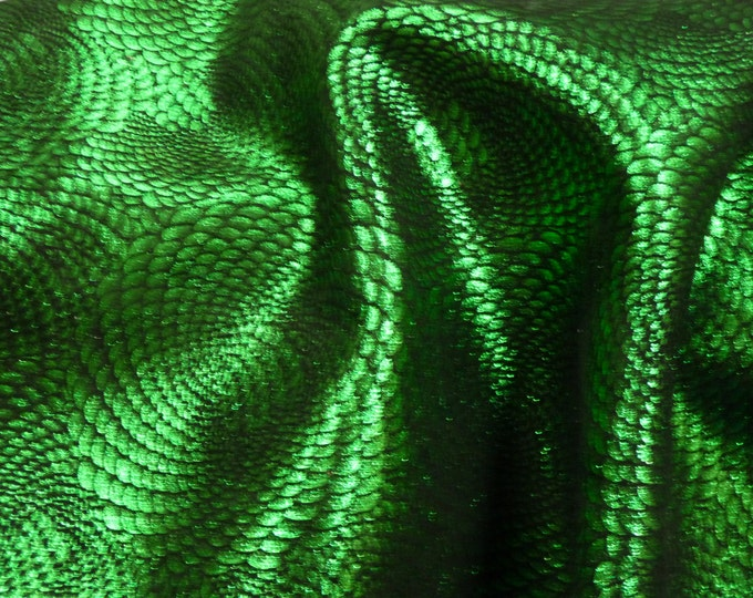 "Metallic Leather 20""x20"" Chinese Dragon EMERALD Green On BLACK Cowhide 3-3.5 oz / 1.2-1.4 mm - PeggySueAlso™ E1420-20 hides too"