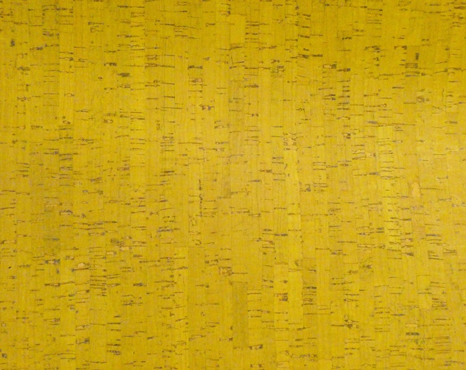 "Cork 12""x12"" YELLOW Cork applied to Cowhide GENUINE Leather for body/strength Thick 5oz/2mm E5610-59 Hides too"