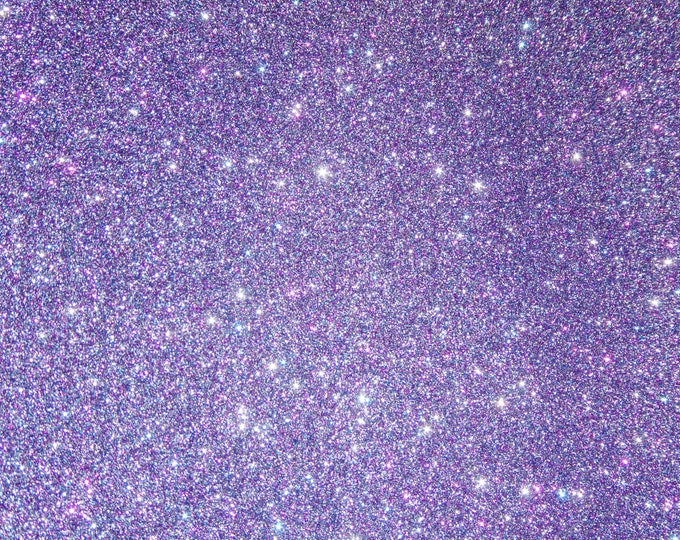 """2 pieces 4""""x6"""" New Fine GLITTER (not chunky) Light AURORA PURPLE Fabric applied to Leather THiCK 4.5-5.5oz/ 1.8-2.2mm PeggySueAlso™ E4355-30"""